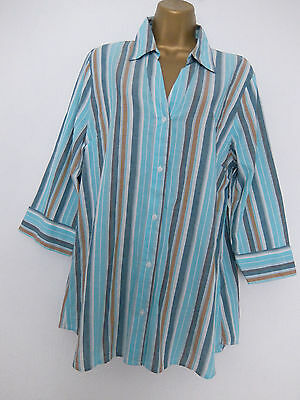 COTTON TRADERS ● size 14 ● green white striped shirt blouse top womens ladies