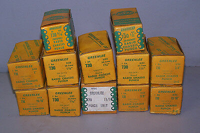 """New Greenlee 730 Radio Chassis Punches 12 Pcs 1/2"""" to 1 1/4"""""""