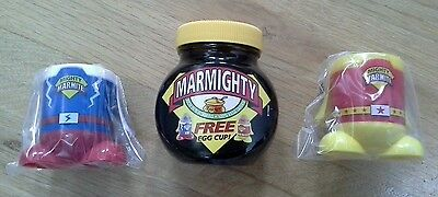 Marmite - Marmighty + Red & Blue Promo Egg Cups - Sealed