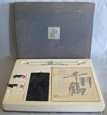 Vintage Japan Airlines Order Of The Thousand Cranes Set~Shikishi/scroll/wallet/