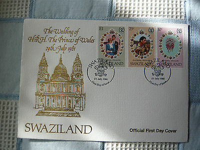 Swaziland First Day Cover The Wedding of H.R.H Prince of Wales Wedding 1981