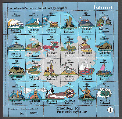 Iceland 50 mile protest stamp - full sheet perforated - 100% Mint