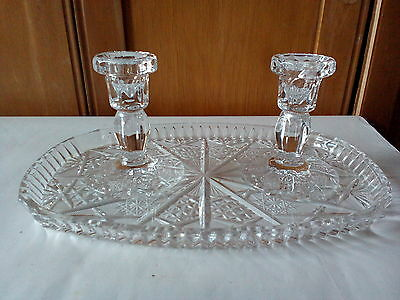 Vintage 1930s Glass Dressing Table Vanity Tray with Two Candlesticks