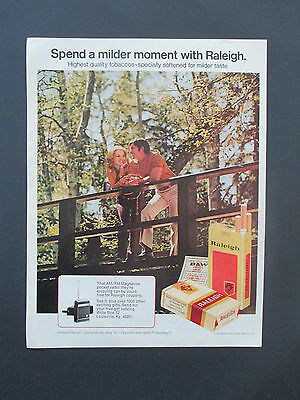 """Vintage 1972 Raleigh Cigarette Coupons Magnavox Print Ad, 13.125"""" X 10.125"""""""