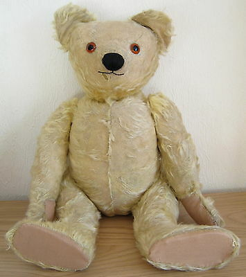 Vintage large jointed mohair Chad Valley teddy bear ~ glass eyes ~ approx. 55cm