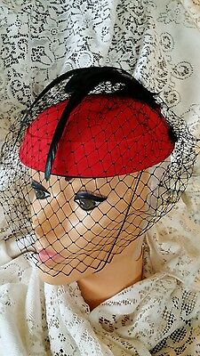 Vintage Feather Veil Kentucky Derby Fascinator Hat Victorian Beaded Band Wedding