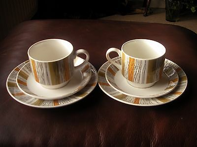 """Midwinter, """"sienna"""" Trio's (Cup,saucer,side Plate) Designed By Jessie Tait X 2"""