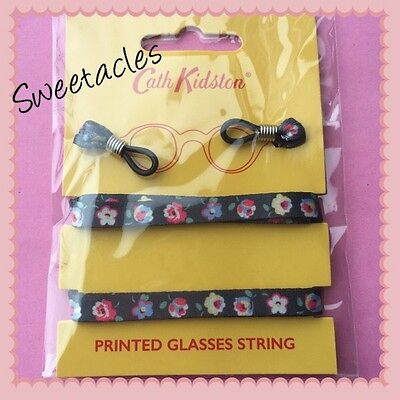 Bnwt Cath Kidston Glasses Chain/string/cord Cotton Ditsy Charcoal