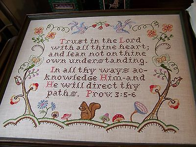 """Framed """"trust In The Lord"""" Proverbs 3:5-6 Handstitched Needlework Squirrel Flora"""