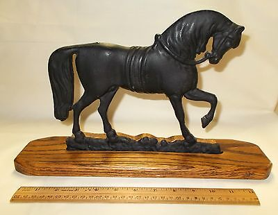 Cast Iron Horse on Oak Stand Marked AD