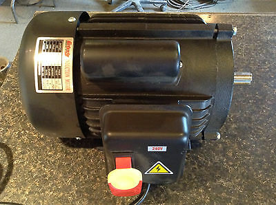 Grizzly 3hp TEFC Electric Motor 240V 3450RPM 2-Pole Single Phase 22mm(.866)Shaft