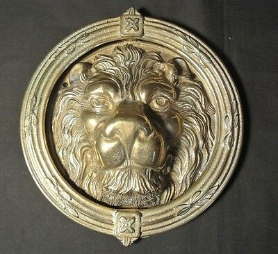 "Large Unique Vintage Solid Brass Lion's Head Door Knocker 9"" Top to Bottom"