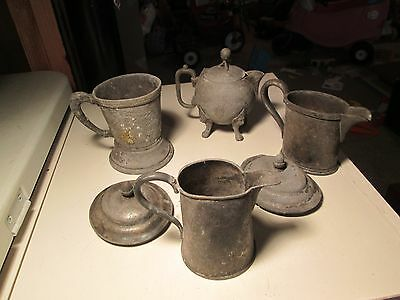 Antique Silver Soldered Pitcher Cups And Parts P57