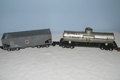 Vintage American Flyer Lehigh New England Hopper  LNE 632 & #625 Shell Tank Car