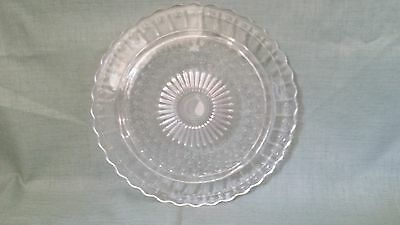 Vintage Clear Glass Footed Cake Plate~ Dots & Starburst Federal Depression Dish
