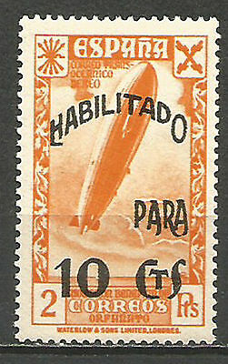 Spain 1938 - Civil War - Zeppelin - History of Mail -Overprinted 10 ct MNH 1937