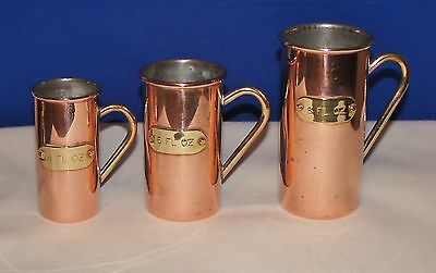 VINTAGE SET 3 COPPER IMPERIAL MEASURING  JUGS WITH BRASS HANDLES~ 4-6-8 Fl oz.