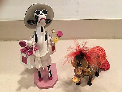 Pair of Cow Parade Figurines Alphadite-Goddess Of Shopping & Moolin Rouge