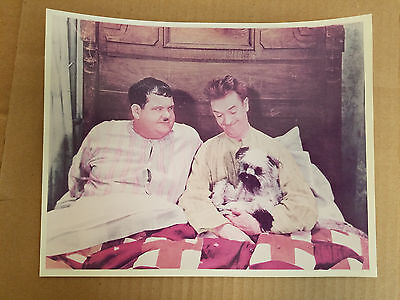 Vintage Laurel And Hardy With Dog In Laughing Gravy Color 8X10 Photo (147)