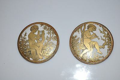 Antique 2 Porcelain Medallions Raphael Cherubs Angels Playing Harp and Flute
