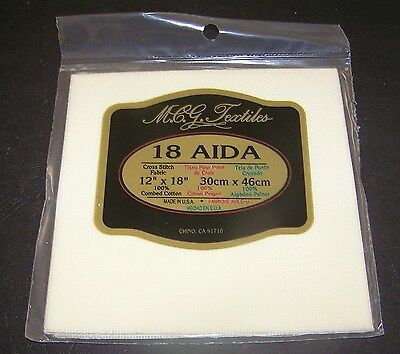 "Aida Cloth Ivory Cream Cross Stitch Embroider 12 x18"" 18 Count New Sew Fabric"