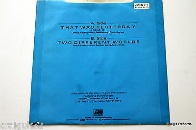 """Foreigner - That was yesterday (7"""" Vinyl Record,45rpm,1980s) - A9571"""