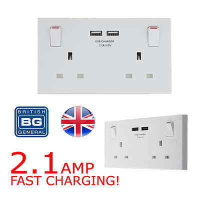 2 Gang Electrical Plug Socket Wall Faceplate with 2 USB Charging Ports