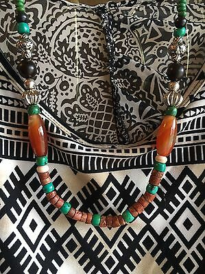Rare Carnelian Dzi Beads Turquoise Onyx Artistic Silk Road Trade Bead Necklace
