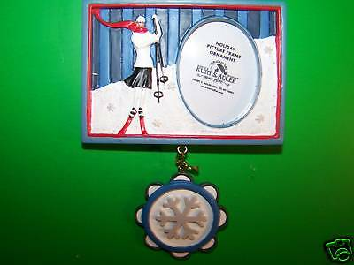 Girl Ski Photo Frame with Snowflake Christmas Ornament