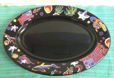 Planet Hollywood Black Oval Serving Plate / Platter  15.5 Inches Long