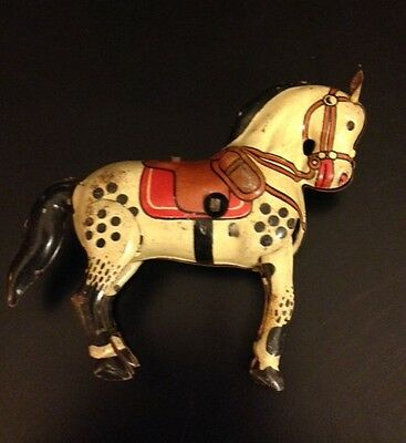 Vintage Wind-Up metal tin HORSE marked Made in England