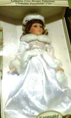 Genuine Fine Bisque Porcelain Keepsake Memories winter outfit  doll