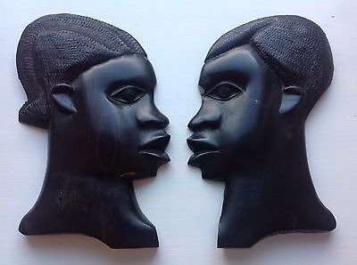Vintage Pair of Hand Carved Wooden Heads Wall Plaques African Tribal Folk Art