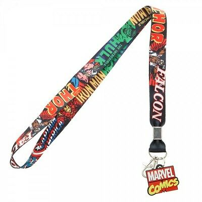 Authentic MARVEL COMICS Characters Comic Strip And Charm Lanyard ID Holder NEW
