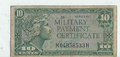 10 cents United States Military Payment Certificate series 611 # m51 w/ Liberty