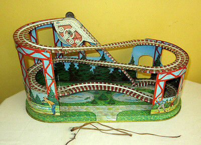 J. Chein windup Roller Coaster tin litho vintage working