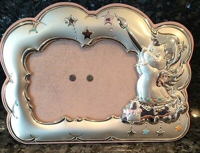 Children's Picture Frame~Silver With Cherub Baby Painting Stars