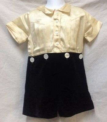 VTG 1920s Boys Silk Velvet Romper Size 4 Beige Black Button Waist Short Sleeve