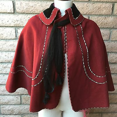 Antique Edwardian Capelet Red Wool Black Scarf Velvet Collar Buttons Piping Silk