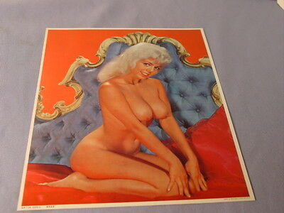 Vintage 1970 Satin Doll  Busty Risque Topless Nude Pin Up Litho