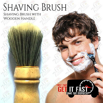 New High Quality Mens Soft Shaving Brush with Wooden Handle Barber +Free Postage