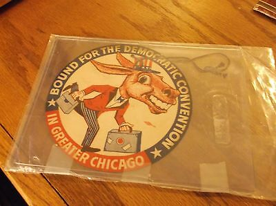 Vintage Democratic National Convention Chicago Luggage Tag Rare
