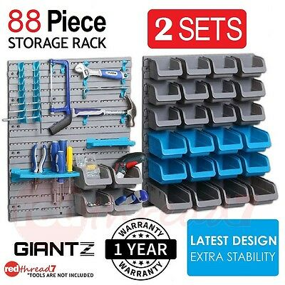 Wall Mounted Storage 88 Piece Bin Rack Parts Garage Unit Shelving Organiser Box