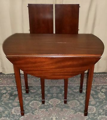 DREXEL MAHOGANY DINING TABLE Drop Leaf Round to Oval 2 Leaves VINTAGE