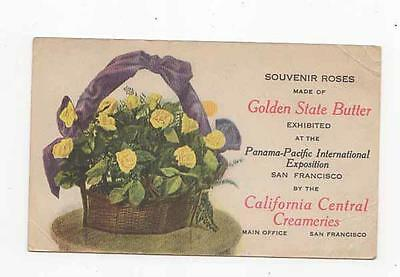 PPIE Golden State Butter,California Central Creameries Advertising Postcard,1915
