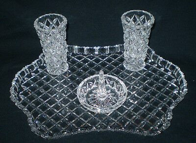 Gorgeous Sparkly Diamond Cut 4 Piece Crystal Dressing Table Set With Tray