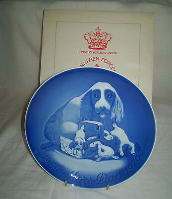 Large Bing & Grondahl B & G 1969-1979 Anniversary Mothers Day Plate~Spaniel/pups