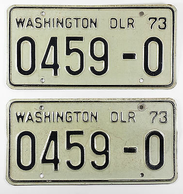 Pair of 1973 Washington Dealer License Plates