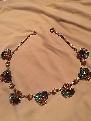 Vintage 14 Inch Choker Necklace With Teal, Lavender And Amber Rhinestones