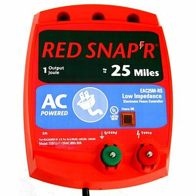 New Fi-Shock Eac25M-Rs Red Snap'r 25 Mile Electric Fencer Low Impedance 6964506